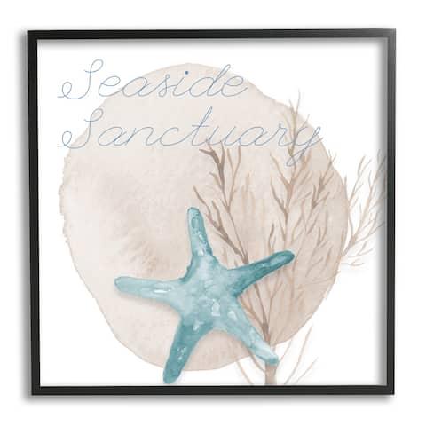 Stupell Industries Seaside Sanctuary Phrase Soft Blue Starfish Brown Kelp Framed Wall Art