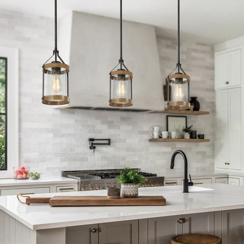"Modern Farmhouse 1-light Cylinder Glass Islands Pendant Lights for Dining Room - D6.5"" x H12"""
