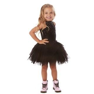 Ooh! La La! Couture Little Girls Black Rhinestone Adorned Carrie Tutu Dress