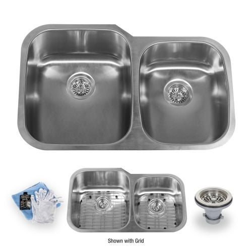 "Miseno MSS3220C6040 32"" Undermount Double Basin Stainless Steel Kitchen Sink with 60/40 Split - Drain Assemblies, Basin Racks"