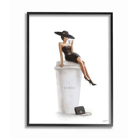 Stupell Industries Stylish Fashion Female Pose Coffee Designer Purse Framed Wall Art