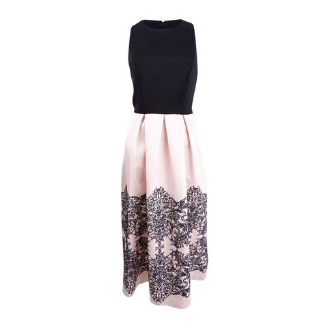 SLNY Pink Womens Size 8 Colorblock Glitter Embroidered A-Line Dress