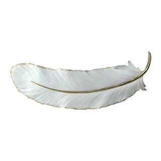22 Gilded White Christmas Feather Shaped Plaque Wall Décor Accent