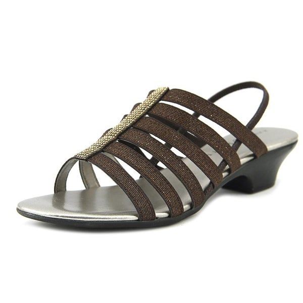 Karen Scott Estevee Women Open Toe Canvas Bronze Sandals