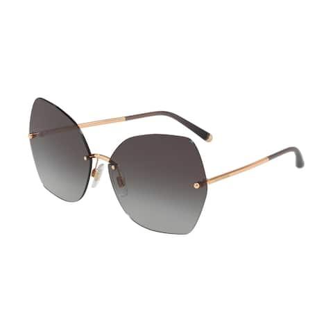 Dolce & Gabbana Irregular DG2204 Women's Pink Gold Frame Light Grey Gradient Black Lens Sunglasses