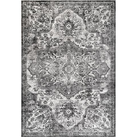 Gracewood Hollow Calcano Vintage Elena Faded Medallion Area Rug