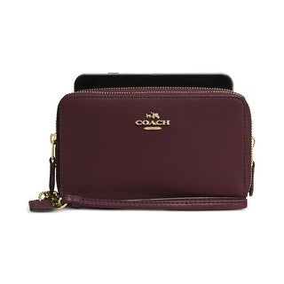Coach Womens Double Zip Wristlet Wallet Leather Smooth - o/s