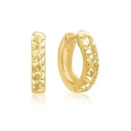 MCS JEWELRY INC 14 KARAT YELLOW GOLD SMALL WIDE HUGGIES HOOP EARRINGS WITH HIDDEN POST (0.5 in)