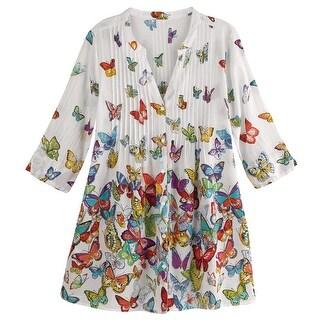 La Cera Women's Brilliant Butterflies Button Front Tunic - 3/4 Sleeve Cotton Top