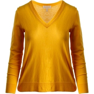 MICHAEL Michael Kors Womens Ribbed Trim Long Sleeves Pullover Sweater