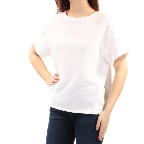 ANNE KLEIN Ivory Eyelet Short Sleeve Crew Neck Top Size: 8