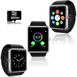 Indigi® GT8 Bluetooth 2-in-1 SmartWatch & Phone w/ Pedometer + Sleep Monitor + Camera w/ 32gb microSD Included - Silver