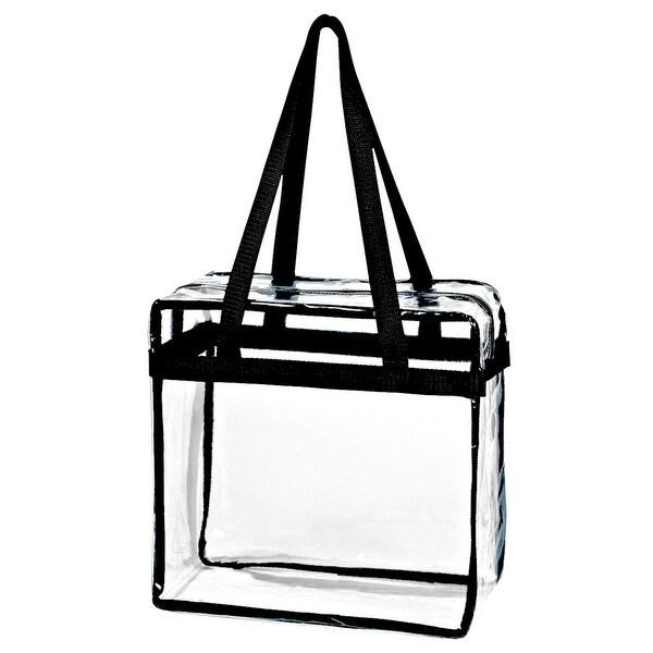 d4d6f28330b Shop Crystal Clear Transparent PVC Plastic Women Tote Bag w  Zippered Top  Closure