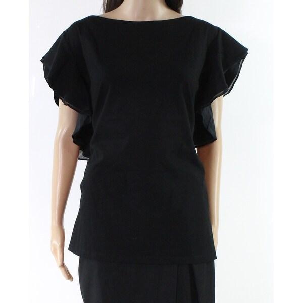 Lauren By Ralph Lauren Black Womens Size 3X Flutter Sleeve Blouse
