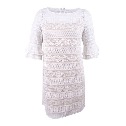 64a091972a8 Jessica Howard Women s Bell-Sleeve Lace Dress - Ivory - 16