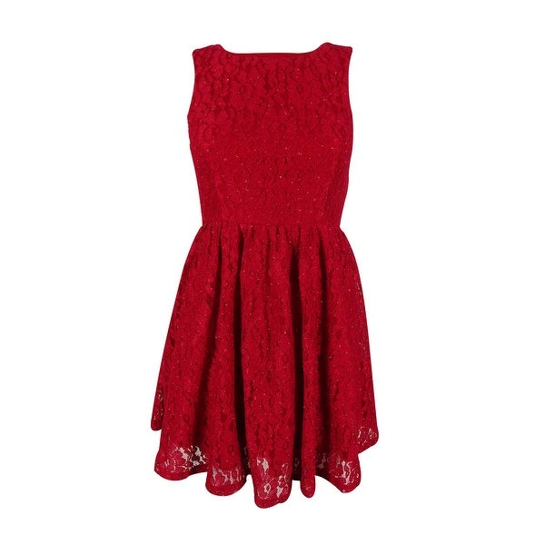 3437a3846 Shop Speechless Juniors' Glittered Lace Dress - Red - Free Shipping On Orders  Over $45 - Overstock - 14818311
