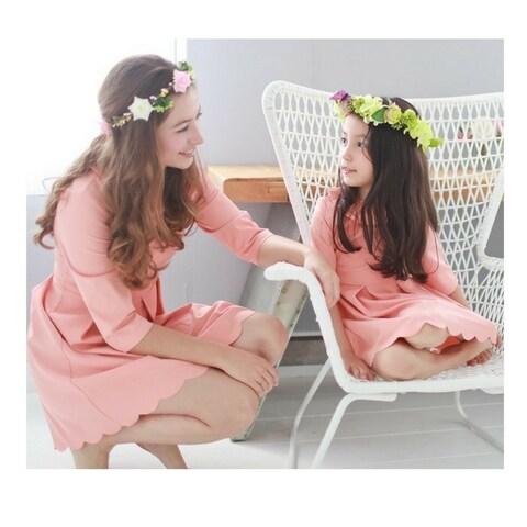 Womens Pink Lotus Leaf Frill Collar Scalloped Hem Knee Length Dress