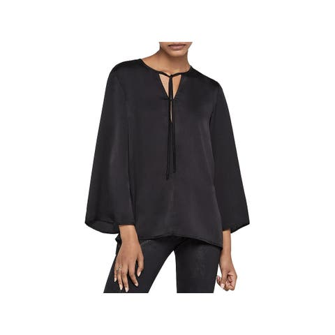 BCBGeneration Womens Pullover Top Tie Neck 3/4 Sleeves