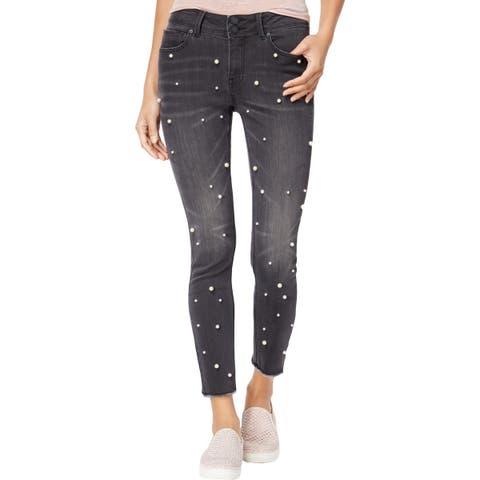 Indigo Rein Womens Juniors Pearl Ankle Jeans Denim Embellished