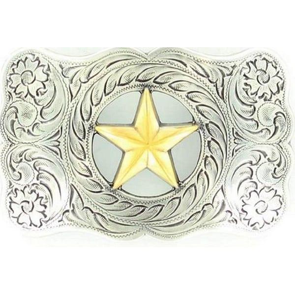 Nocona Western Belt Buckle Womens Star Silver Gold - 2 x 3 1/4