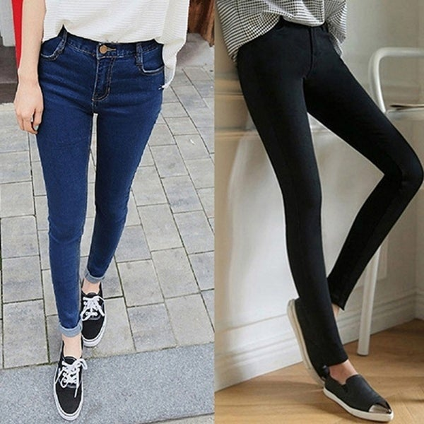 75fbce0022 Fashion Women Mid Rise Pencil Stretch Denim Skinny Jeans Pants Casual  Trousers