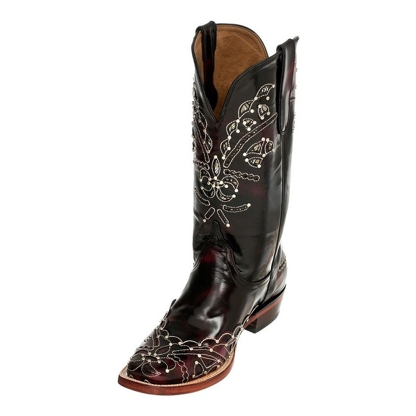 Ferrini Western Boots Women Wild Diva Square Toe Black Cherry