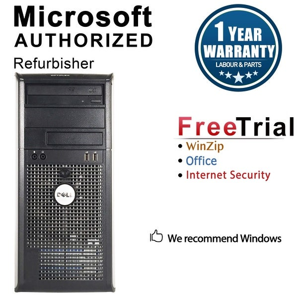 Dell OptiPlex 745 Computer Tower Intel Core 2 Duo E6600 2.4G 2GB DDR2 80G Windows 7 Pro 1 Year Warranty (Refurbished) - Silver