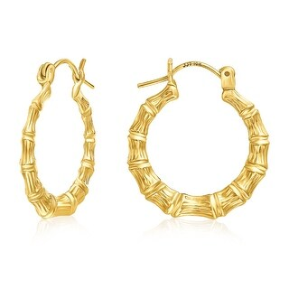 Mcs Jewelry Inc  10 KARAT YELLOW GOLD HOOP EARRINGS BAMBOO STYLE 21MM