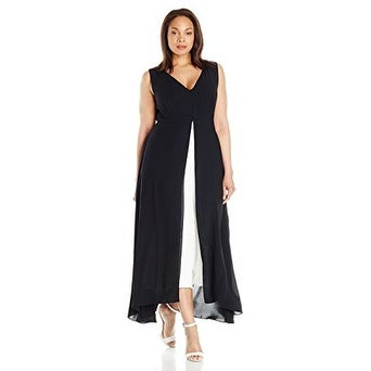 6b4b77f625b Shop Adrianna Papell Women s Plus Size Color blocked Overlay Culottes  Jumpsuit - Free Shipping Today - Overstock - 18302381