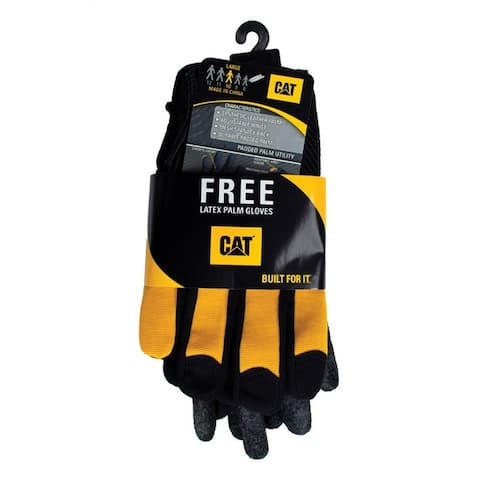 Cat CAT012215/CAT017400L Men's Large Utility Work Gloves, Leather And Synthetic, Yellow/Black