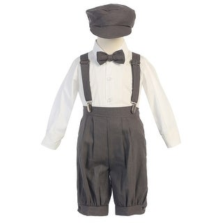 Baby Boys Charcoal Suspenders Short Pants Hat Easter Outfit Set 3-24M