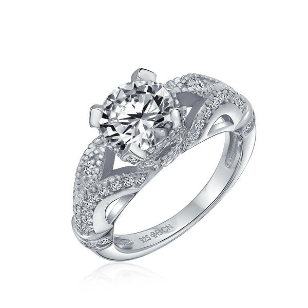3CT Solitaire 925 Sterling Silver Filigree AAA CZ Engagement Ring. Opens flyout.