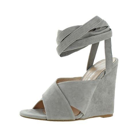 Charles David Womens Quest Wedges Wraparound Open Toe - Grey Suede