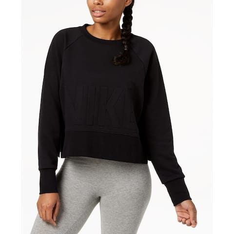 Nike Women's Cropped French Terry Sweatshirt Black Size Extra Large - X-Large
