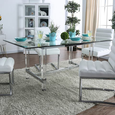 Silver Orchid Falconetti Acrylic and Glass 72-inch Dining Table