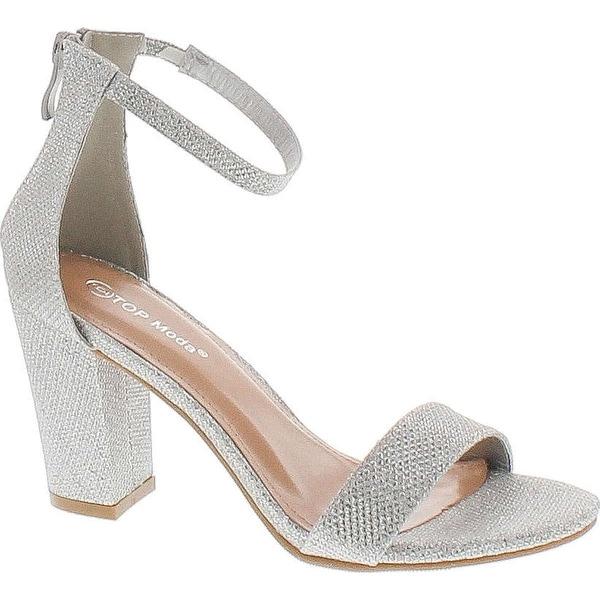 Top Moda Womens Hannah-1 Platform Chunky Heel Metallic Glitter Party Ankle Strap High Heel Sandal