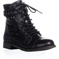 Rampage Justeyna Briaded Lace Up Combat Boots, Black