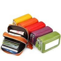 Fashion Brand Genuine Leather Women Card Holder Double Zipper Large Capacity Female Id Credit Card Case
