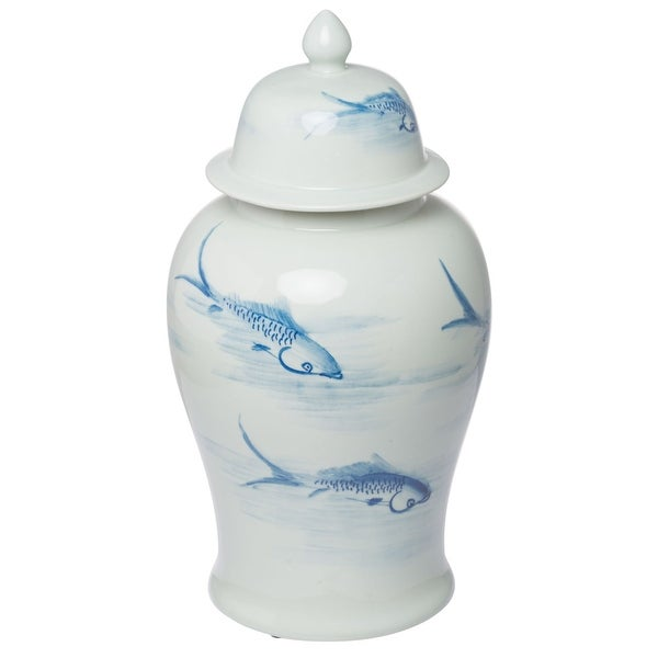"""18.75"""" White and Blue Vintage Style Tall Jar with Lid - N/A"""