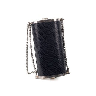 Roberto Cavalli Black Leather Snake Embossed Silver Chain Clutch