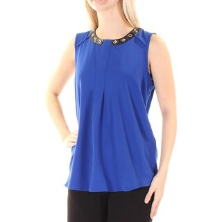Womens Blue Black Sleeveless Jewel Neck Wear To Work Blouse Top Size 4