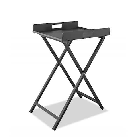 "Gray Aluminum Indoor Outdoor Tray Table - 19"" W X 15"" D X 29"" H"