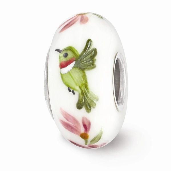 Sterling Silver Reflections White Hand Painted Hummingbird Glass Bead