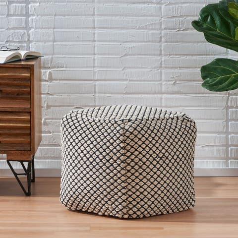 Waite Boho Fabric Cube Pouf by Christopher Knight Home