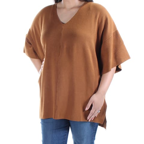 ALFANI Womens Brown Dolman Sleeve V Neck Top Size: XS