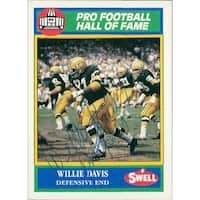 Signed Davis Willie Green Bay Packers 1990 SWELL Pro Football Hall of Fame Card in blue ball point