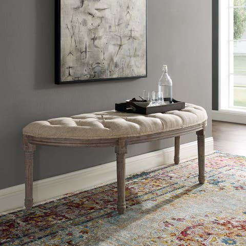 Vintage French Upholstered Fabric Semi-Circle Bench