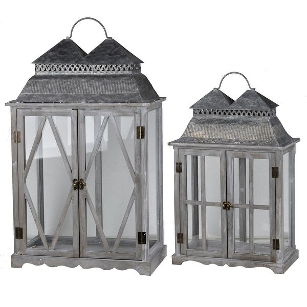 "Set of 2 Antique Silver Classic Scape Lanterns 28.25"" - N/A"
