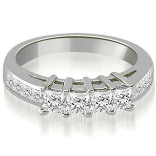 1 35 CT Channel Princess Cut Diamond Anniversary Wedding Band In 14KT White H I
