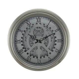 Satin Silver Metal Watch Gears Wall Clock